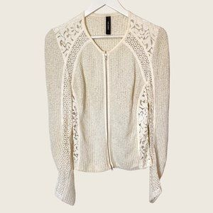 Marc Cain White Knit Full Zip Jacket with Lace Inserts